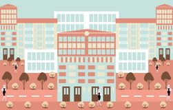 Fondo urbano astratto dell'illustrazione di scenics di minimalismo illustrazione di stock