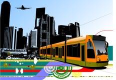Fondo urbano astratto di ciao-tecnologia con il tram sul fondo della città Immagini Stock Libere da Diritti