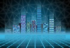 Fondo urbano: città futuristica di ciao-tecnologia nell'incandescenza al neon Synthwave, retrowave, metropoli astratta e primitiv fotografia stock libera da diritti