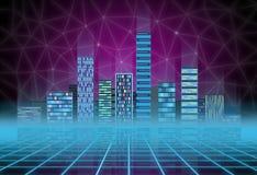 Fondo urbano: città futuristica di ciao-tecnologia nell'incandescenza al neon Synthwave, retrowave, metropoli astratta e primitiv fotografie stock libere da diritti