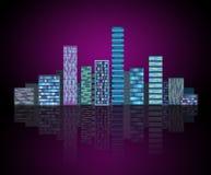 Fondo urbano: città futuristica di ciao-tecnologia nell'incandescenza al neon Synthwave, retrowave, metropoli astratta e primitiv fotografia stock