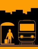 Fondo urbano con el hombre y el tren Imagenes de archivo