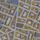Fondo urbano de la vista de pájaro de la ciudad de la historieta Fotos de archivo libres de regalías