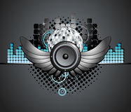 Fondo urbano del altavoz de la bola del disco de la música ilustración del vector