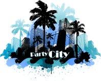 Fondo urbano tropical de la ciudad del partido Imágenes de archivo libres de regalías