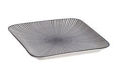 Fondo vacío de la placa Una placa rectangular rayada blanco y negro decorativa aislada en un fondo blanco foto de archivo libre de regalías