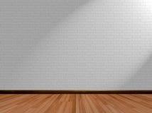 Fondo vacío del sitio y pared de ladrillo de madera del piso Imagenes de archivo