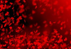 Fondo vago rosso del bokeh, luminoso, nero, cuori, festa, nozze, amanti, cuori romanzeschi e di cadute, petali dei cuori, illustrazione vettoriale