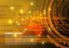 Fondo variopinto astratto di ciao-tecnologia di vettore con la mappa punteggiata nel colore dell'oro illustrazione di stock