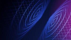 Fondo variopinto astratto di Wave griglia 3d Grandi dati futuristico illustrazione di stock