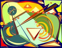 Fondo variopinto astratto, forme geometriche e curve operate 17-248 Fotografie Stock Libere da Diritti