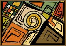 Fondo variopinto astratto, forme geometriche e curve operate 17-251 Immagini Stock Libere da Diritti
