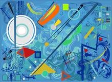 Fondo variopinto astratto, forme geometriche e curve operate, bianco, blu, arancio Fotografie Stock