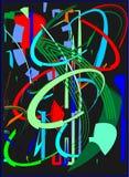 Fondo variopinto astratto, forme geometriche e curve operate blu, verde, rosso sul nero Fotografie Stock