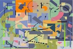 Fondo variopinto astratto, forme geometriche e curve operate, verde, blu, arancio Fotografie Stock Libere da Diritti