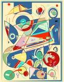 Fondo variopinto astratto, forme geometriche e curve operate, verde, rosso, blu 17 -267 Immagine Stock