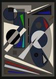 Fondo variopinto astratto, forme geometriche operate grige su buio Fotografia Stock