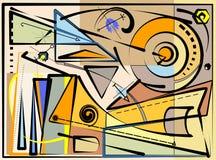 Fondo variopinto astratto, forme geometriche operate marrone chiaro su beige 17 -265 Immagine Stock Libera da Diritti