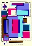 Fondo variopinto astratto, forme geometriche operate su bianco Fotografie Stock