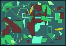 Fondo variopinto astratto, forme verdi geometriche operate Fotografie Stock Libere da Diritti
