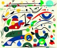Fondo variopinto astratto, rosso blu di forme geometriche operate su beige Fotografie Stock Libere da Diritti