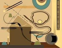 Fondo variopinto astratto, scrittorio stilizzato, su fondo marrone chiaro Fotografie Stock