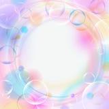 Fondo variopinto con le bolle, le luci, i cerchi e lo spazio vuoto Contesto di colore pastello Illustrazione di vettore Immagini Stock