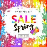 Fondo variopinto con le macchie multicolori, farfalla di vendita della primavera Fotografia Stock