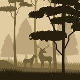 Fondo variopinto con paesaggio notturno della foresta con gli alberi ed i cervi Fotografia Stock Libera da Diritti