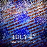Fondo variopinto dalle bandiere e dai fuochi d'artificio di U.S.A. Fotografia Stock