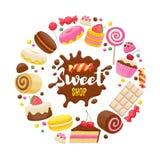 Fondo variopinto dei dolci assortiti illustrazione di stock