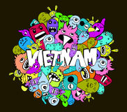 Fondo variopinto dei pantaloni a vita bassa di scarabocchio del Vietnam illustrazione di stock
