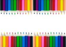 Fondo variopinto del confine della struttura di colore della matita Immagine Stock