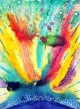 Fondo variopinto dell'universo dell'acquerello di colore astratto della pittura Fotografia Stock Libera da Diritti