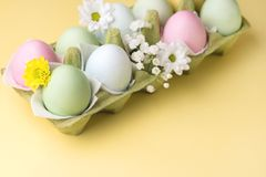 Fondo variopinto delle uova di Pasqua con lo spazio giallo della copia dei fiori delle uova di Pasqua del fondo delle uova di Pas Immagini Stock Libere da Diritti