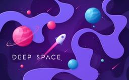 Fondo variopinto dello spazio cosmico del fumetto, progettazione, insegna, materiale illustrativo royalty illustrazione gratis
