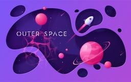Fondo variopinto dello spazio cosmico del fumetto, progettazione, insegna, materiale illustrativo illustrazione di stock