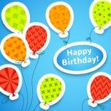 Fondo variopinto di applique di buon compleanno Fotografia Stock
