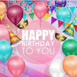 Fondo variopinto di buon compleanno dei palloni Fotografie Stock
