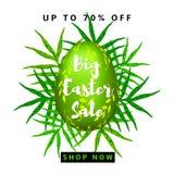 Fondo variopinto di grande vendita di Pasqua con l'uovo verde Fotografie Stock Libere da Diritti