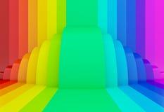 fondo variopinto di prospettiva dell'arcobaleno, 3d illustrazione di stock
