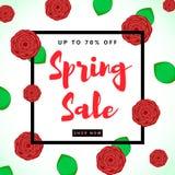 Fondo variopinto di vendita della primavera con i fiori rossi Fotografia Stock Libera da Diritti