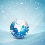 Fondo, vector y ejemplo del flujo de la comunicación de la red del mundo y del movimiento del concepto de la tecnología Imagen de archivo