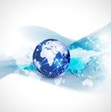 Fondo, vector y ejemplo del flujo de la comunicación de la red del mundo y del movimiento del concepto de la tecnología Fotos de archivo