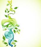 Fondo verde abstracto con la onda y gotas Fotos de archivo libres de regalías