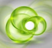 Fondo verde abstracto con las dimensiones de una variable redondas de cristal Fotografía de archivo libre de regalías