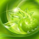 Fondo verde abstracto con las hojas Imagen de archivo libre de regalías
