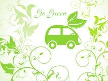 Fondo verde abstracto del eco con el coche Foto de archivo