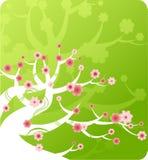 Fondo verde alegre con un árbol de la historieta Imagen de archivo