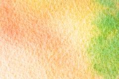 Fondo verde anaranjado abstracto de la acuarela Macro Texture Foto de archivo